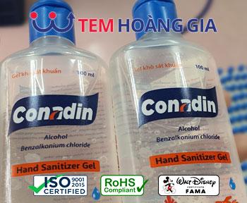 Tem nhãn chai dung dịch sát khuẩn – nhãn mác nước rửa tay khô